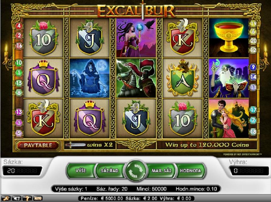 Hracie automaty Excalibur zdarma
