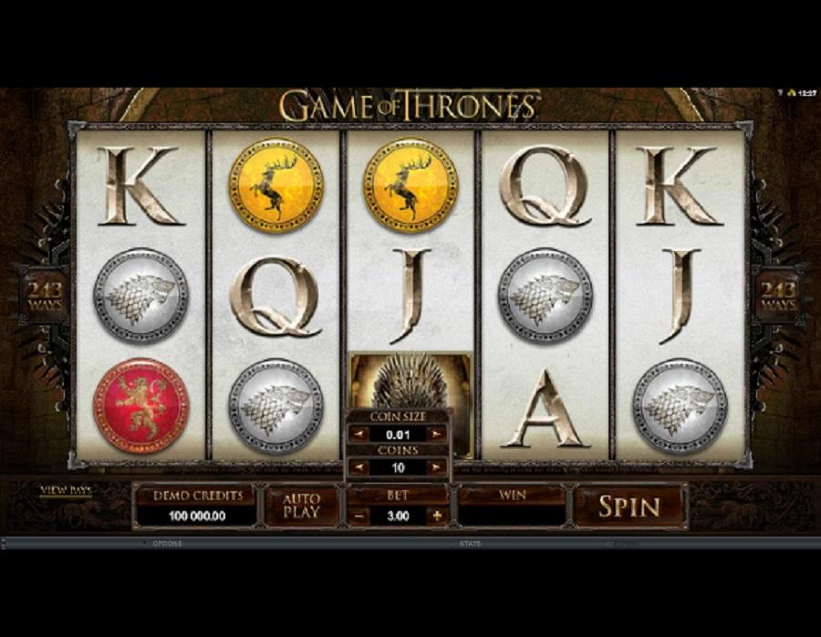Výherný kasíno automat Game of Thrones