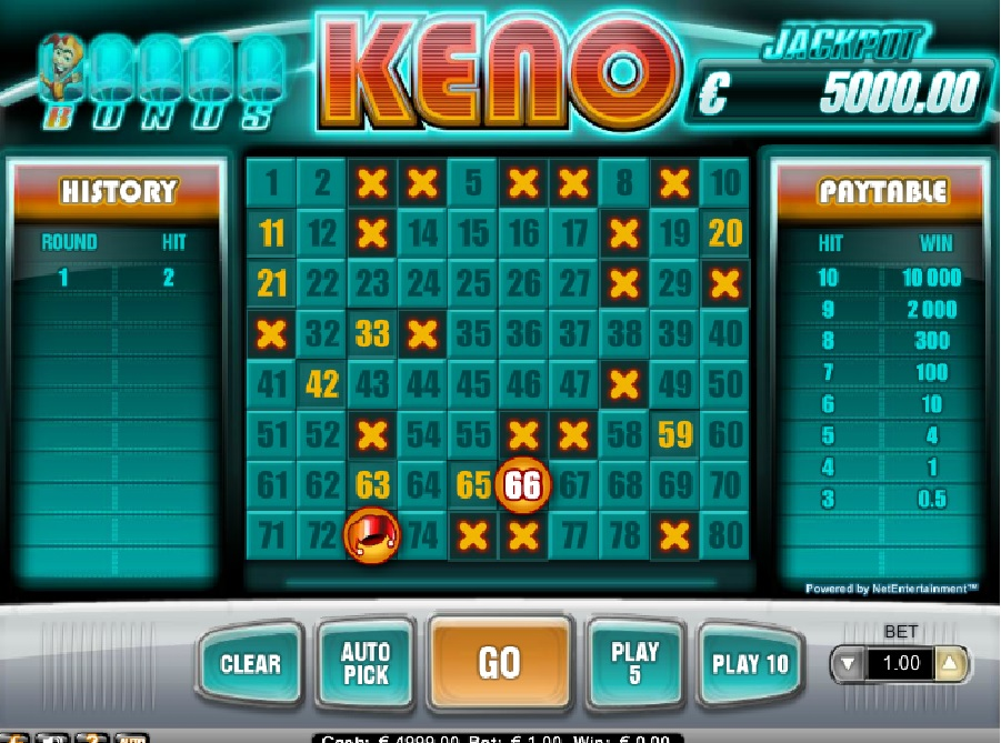 Automatová hra Bonus Keno