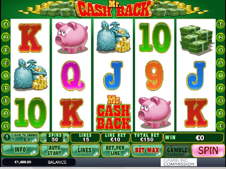 Výherní hrací automat Mr Cashback