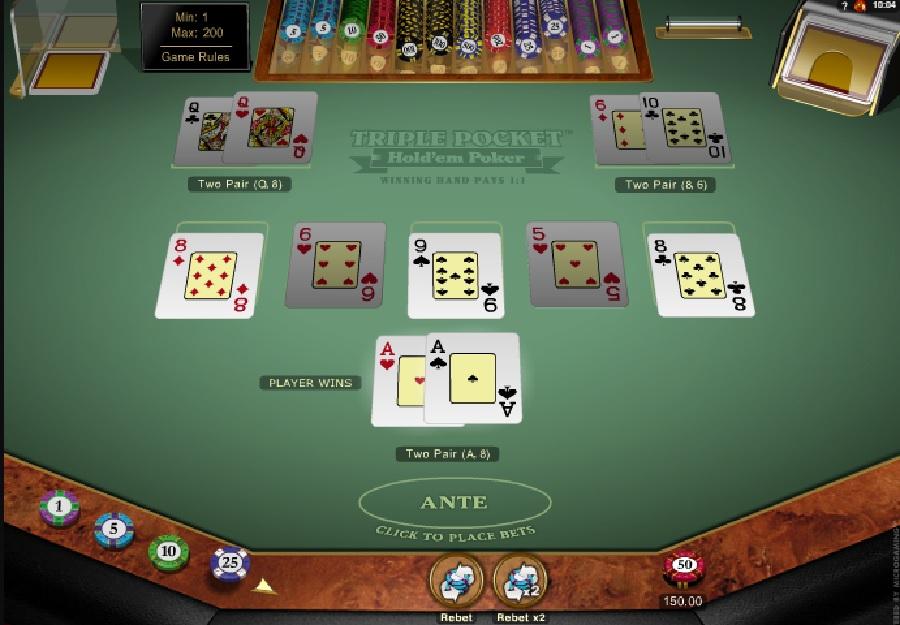 Triple pocket Hold'em kasyno gry za darmo