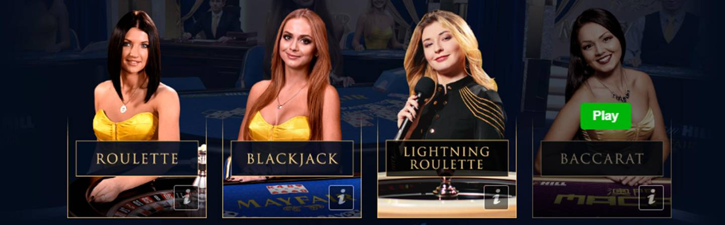 Enjoy playing the live casino at William Hill with its exclusive live dealer game